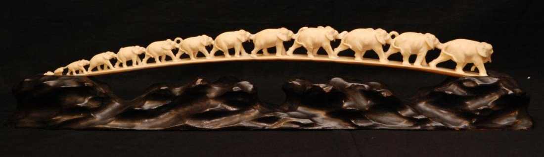 215: CHINESE HAND CARVED IVORY ELEPHANT BRIDGE - 5