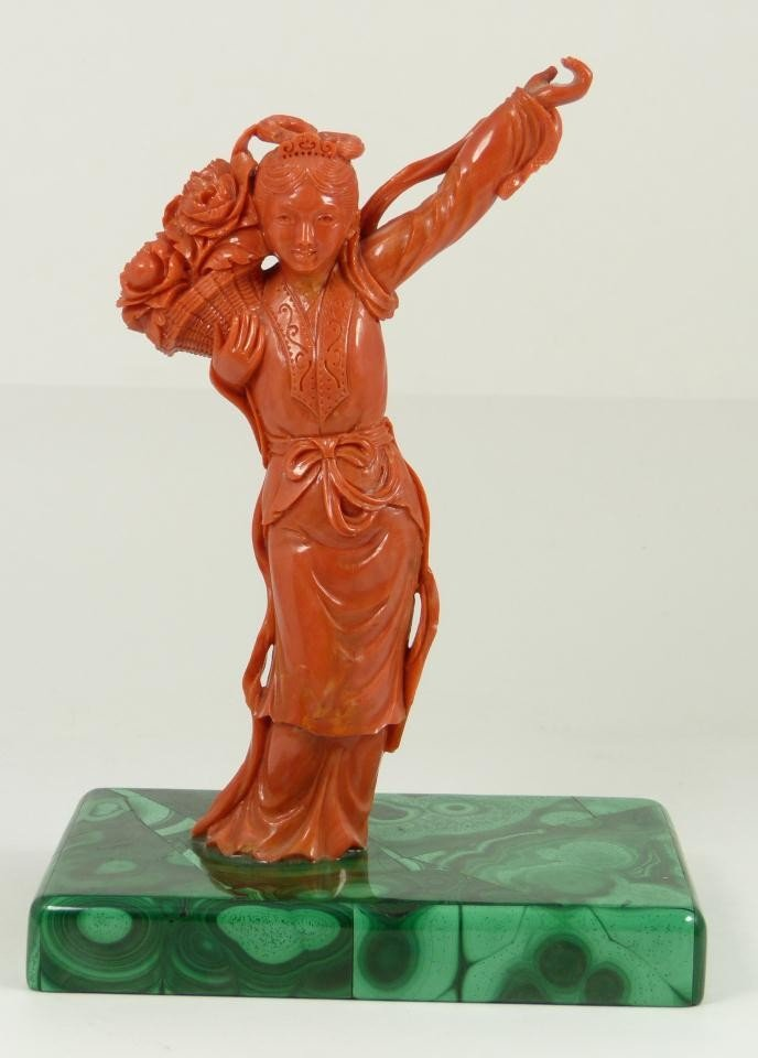 9: FINE CHINESE RED CORAL FIGURE OF MAIDEN WITH FLOWERS
