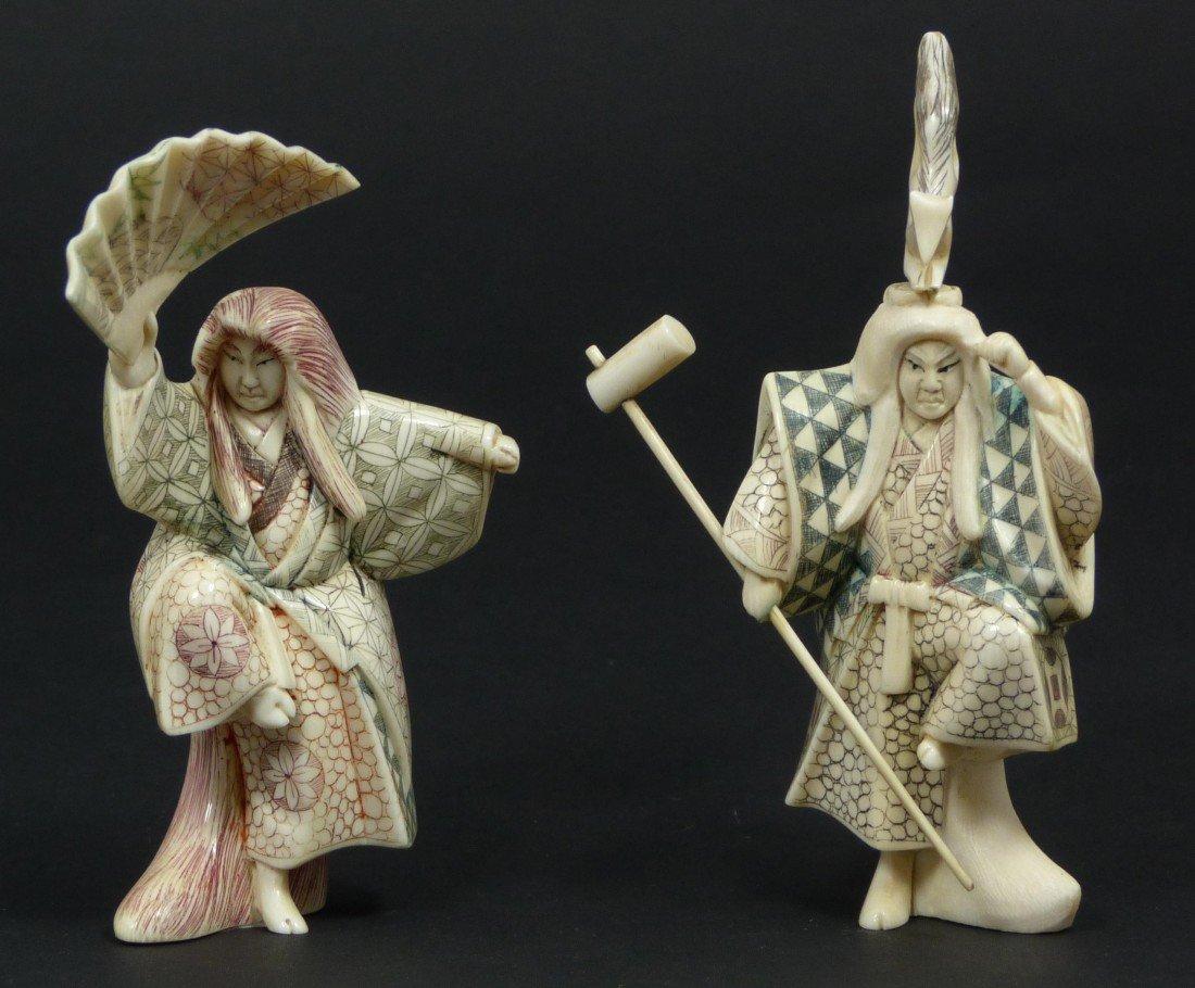 11: Pr JAPANESE IVORY POLYCHROME KABUKI FIGURES
