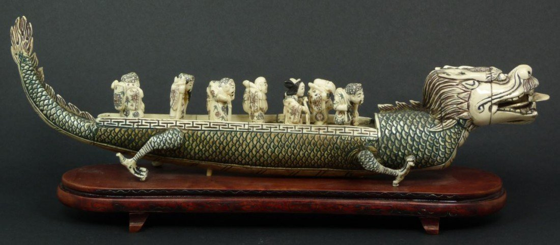 12: JAPANESE CARVED IVORY 7 IMMORTALS DRAGON BOAT