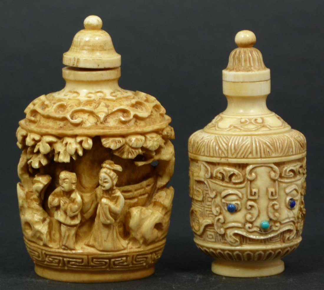16: 2 CHINESE RELIEF CARVED SNUFF BOTTLES