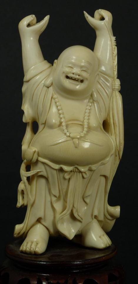 20: CHINESE HAND CARVED IVORY STANDING HAPPY BUDDHA