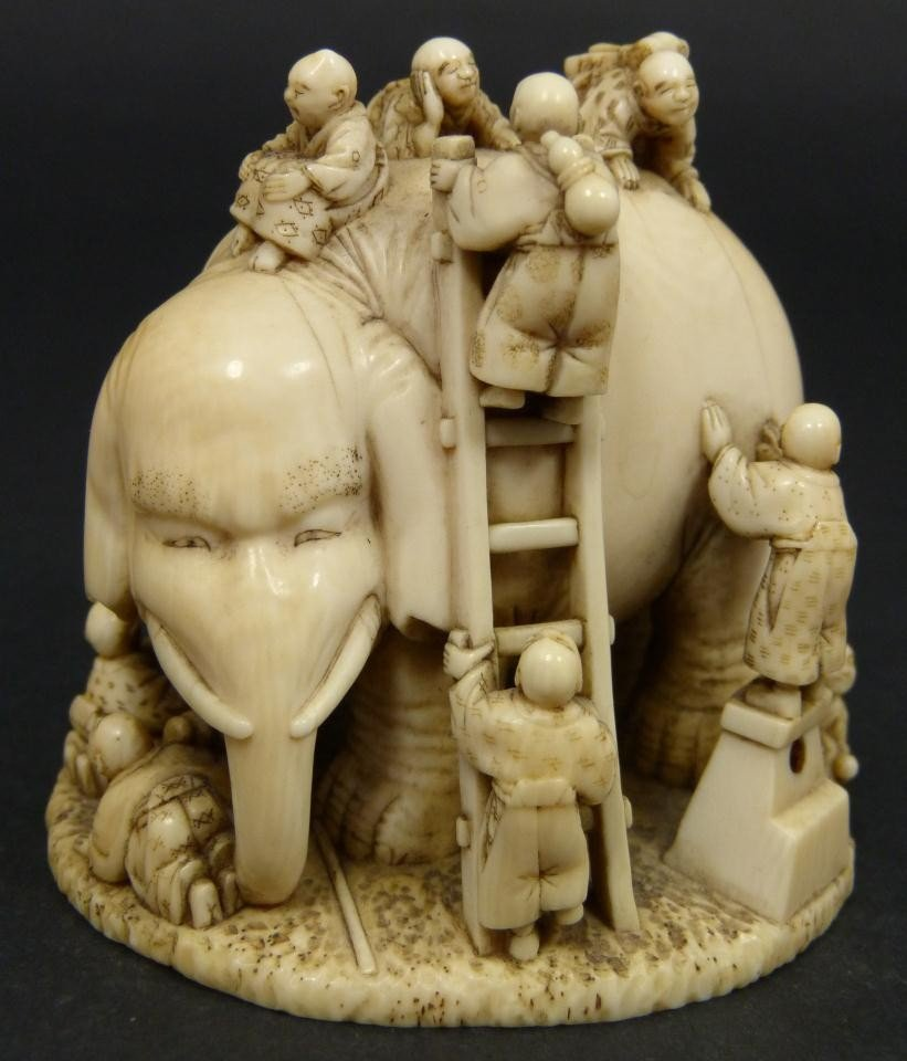 167: ANTIQUE CHINESE CARVED IVORY ELEPHANT GROUP