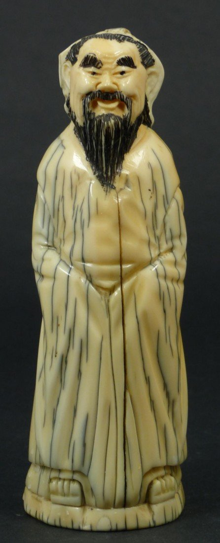 219: 19TH CENTURY CARVED IVORY FIGURE OF A SAGE