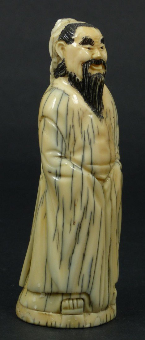 219: 19TH CENTURY CARVED IVORY FIGURE OF A SAGE - 2