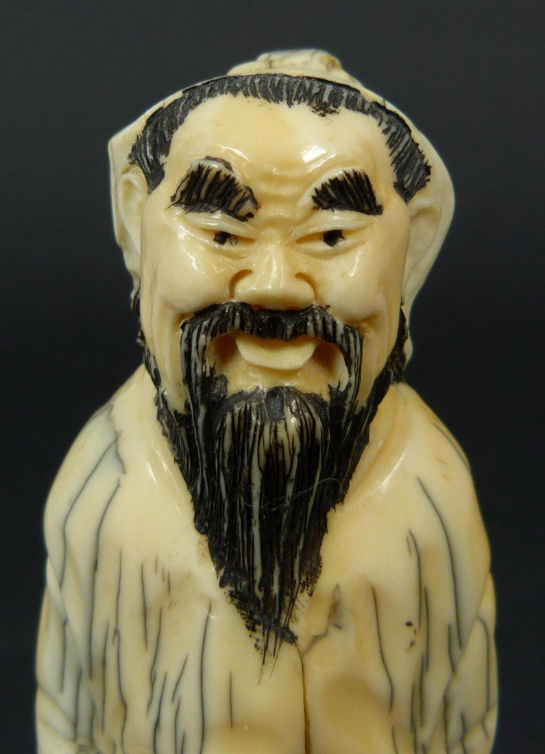 219: 19TH CENTURY CARVED IVORY FIGURE OF A SAGE - 4