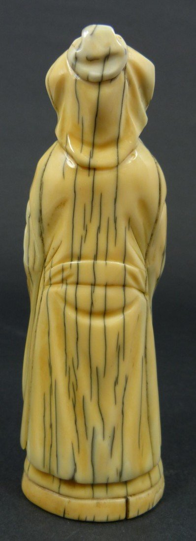 219: 19TH CENTURY CARVED IVORY FIGURE OF A SAGE - 5