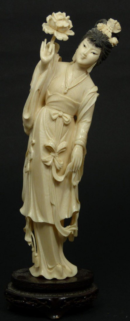 13: CHINESE CARVED IVORY MAIDEN WITH FLOWER FIGURE