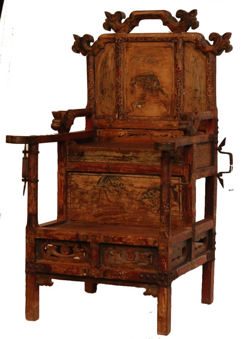 204: ANTIQUE CHINESE EMPERORS CHAIR - 2