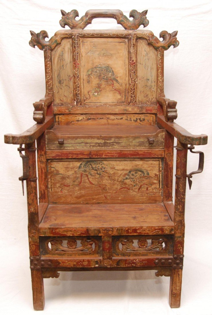 204: ANTIQUE CHINESE EMPERORS CHAIR - 3