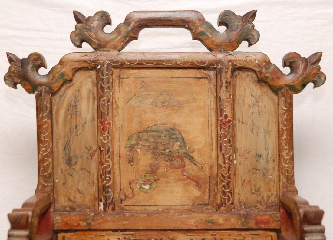 204: ANTIQUE CHINESE EMPERORS CHAIR - 4