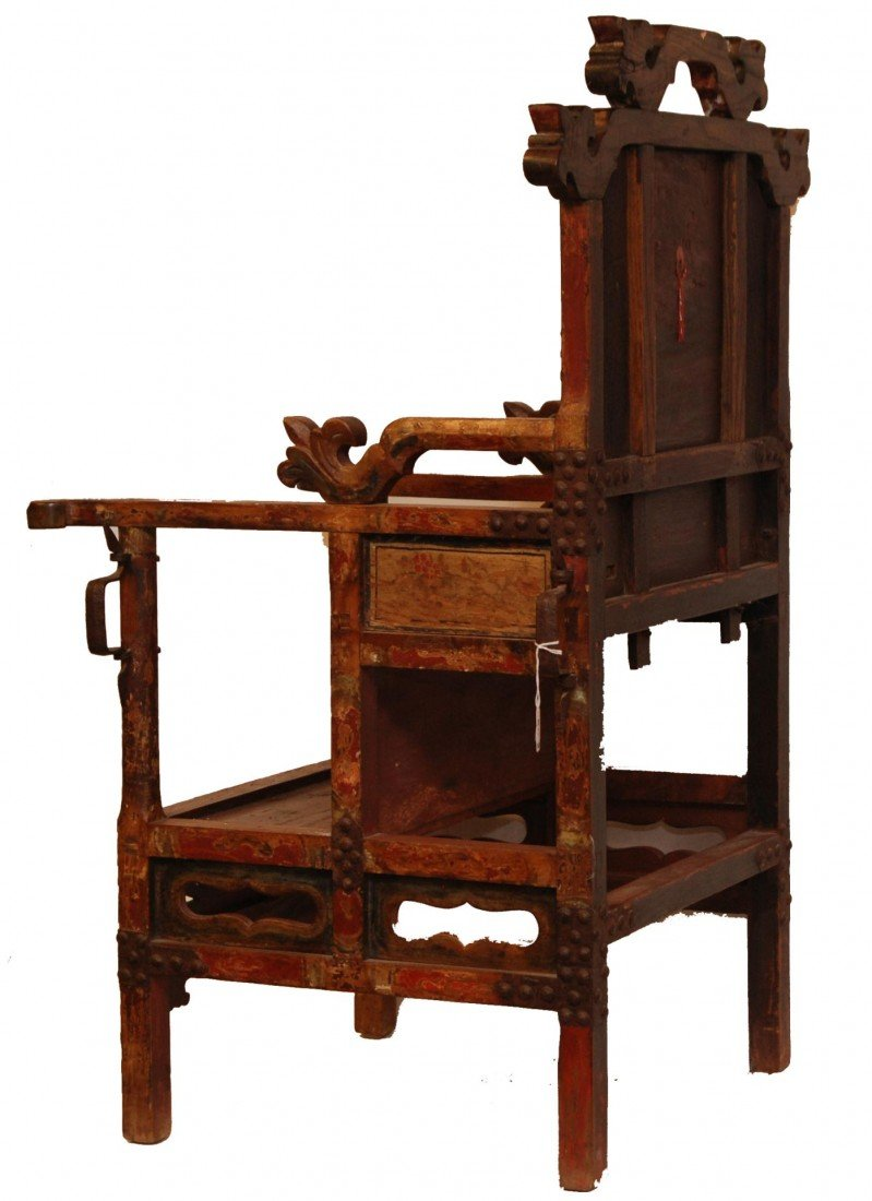 204: ANTIQUE CHINESE EMPERORS CHAIR - 9