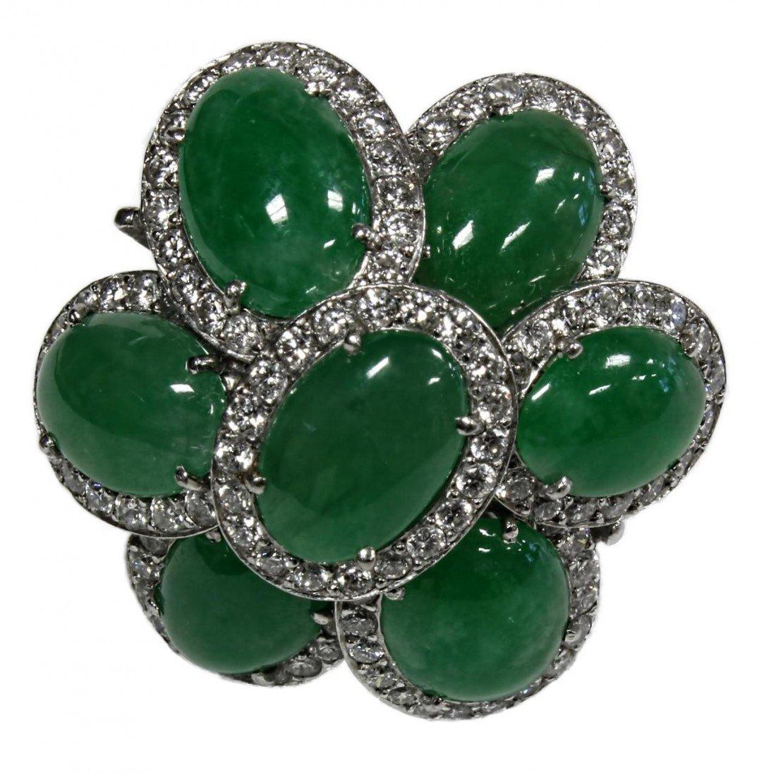 22A: LADIES PLATINUM IMPERIAL GREEN GEM JADEITE RING