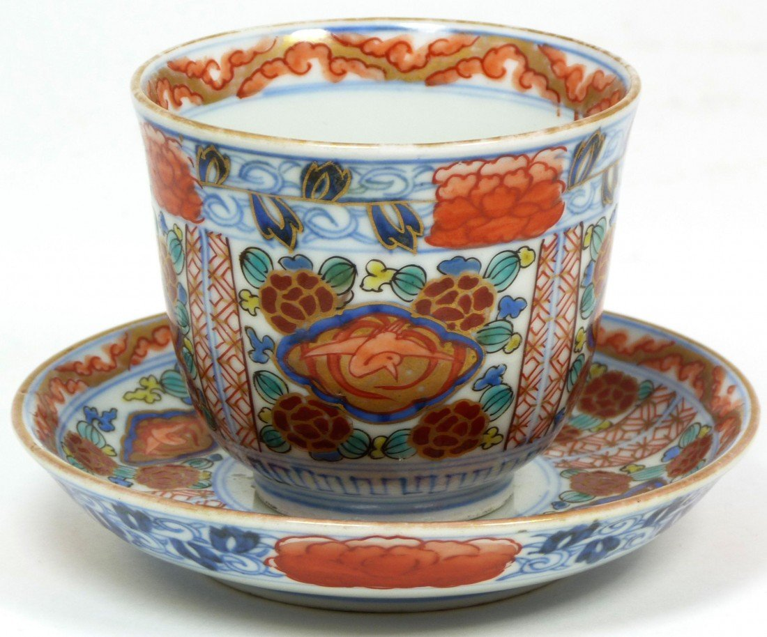 579: CHINESE CHENGHUA PORCELAIN CUP & SAUCER SET
