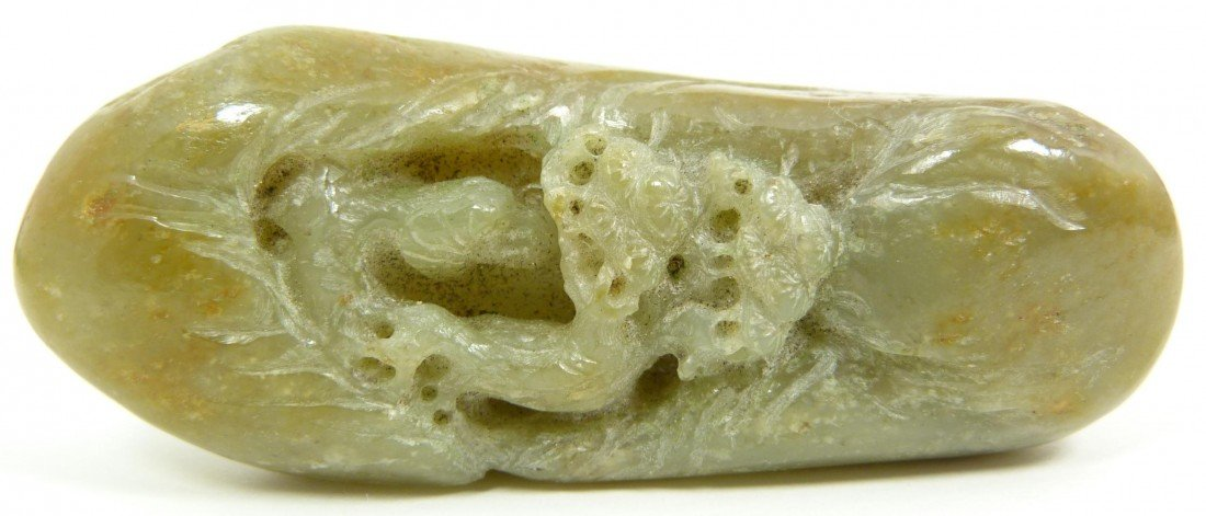 581: ANTIQUE CHINESE CARVED JADE DUAL SIDE PEBBLE