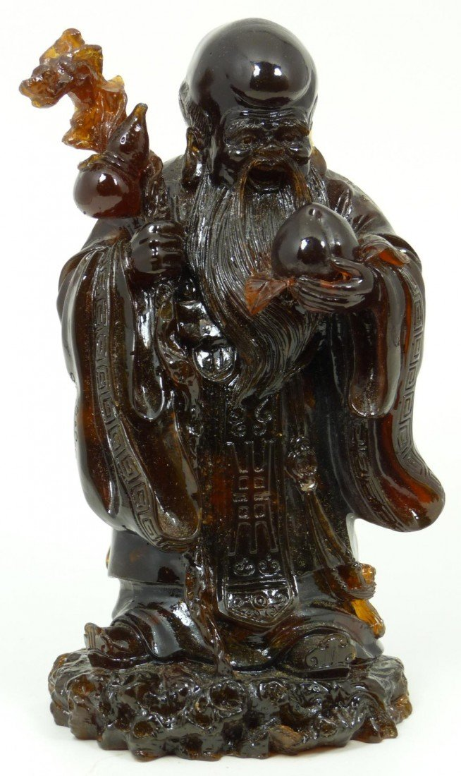 587: ANTIQUE CHINESE CARVED AMBER SHOU XING FIGURE
