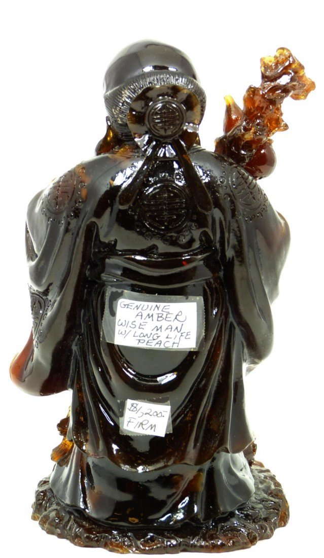587: ANTIQUE CHINESE CARVED AMBER SHOU XING FIGURE - 3