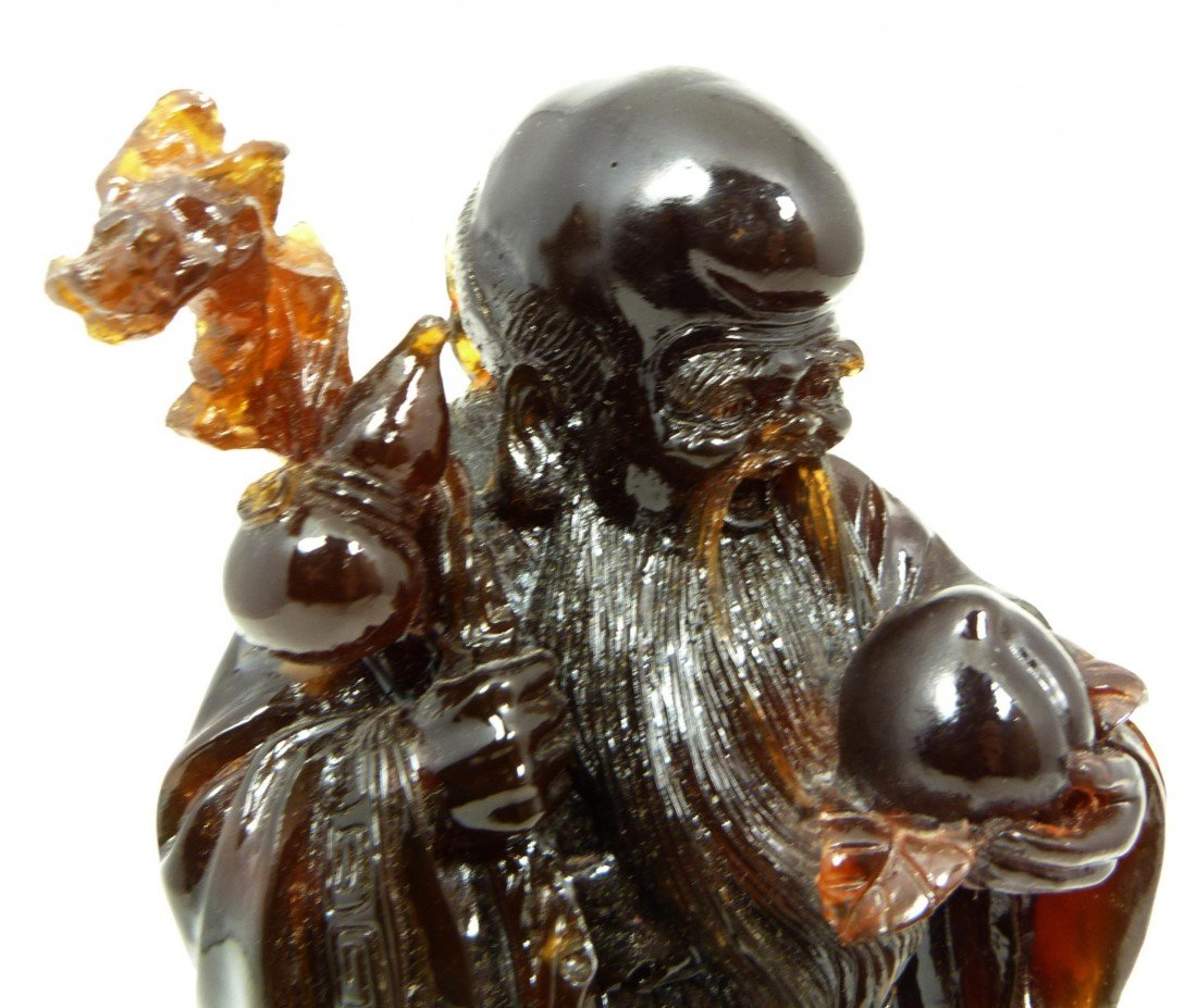 587: ANTIQUE CHINESE CARVED AMBER SHOU XING FIGURE - 4