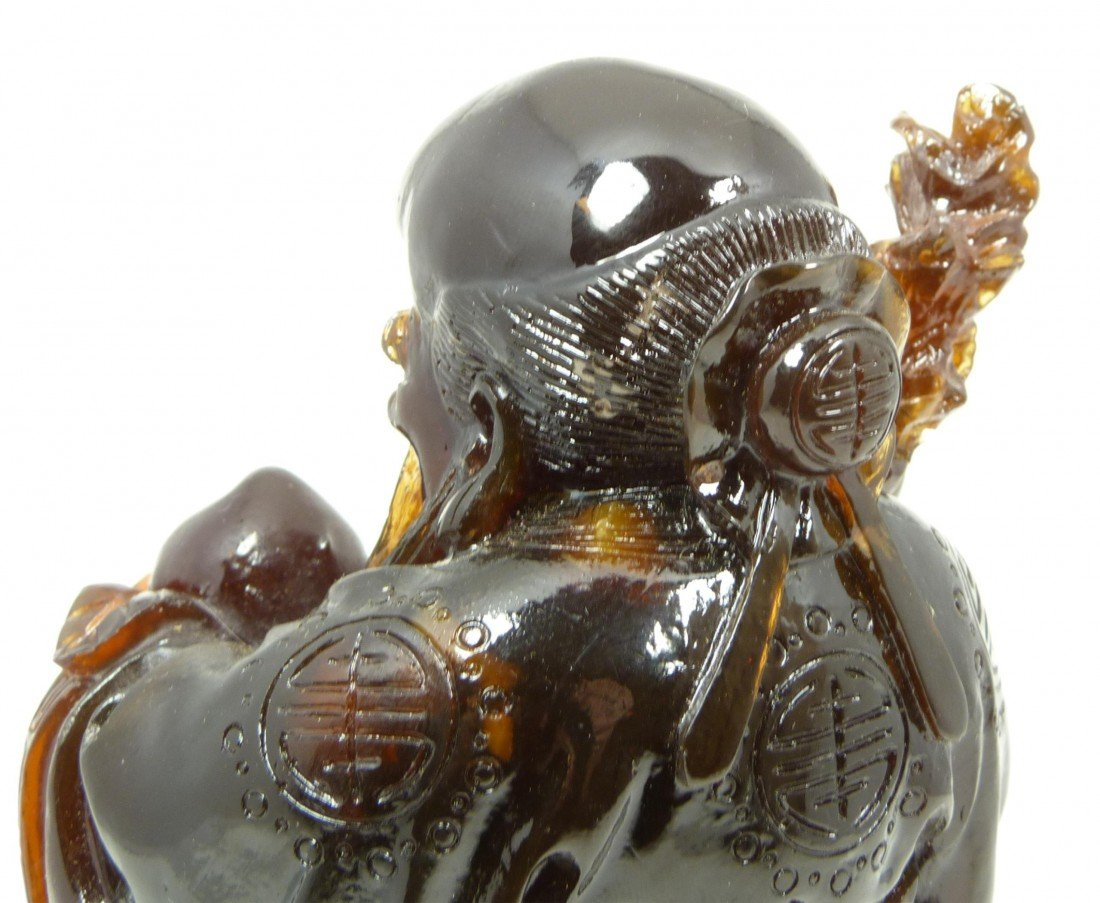 587: ANTIQUE CHINESE CARVED AMBER SHOU XING FIGURE - 6