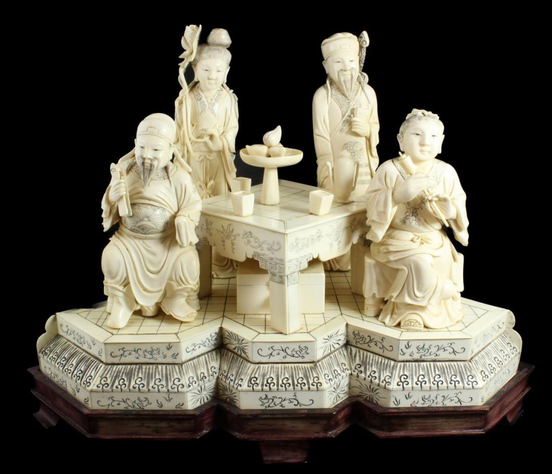415: CHINESE CARVED IVORY IMMORTAL GROUP SCENE SIGNED