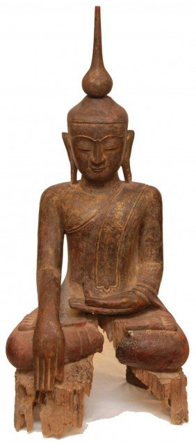 PALATIAL ANTIQUE THAI WOOD CARVING OF BUDDHA