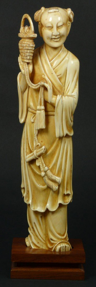 403A: ANTIQUE CHINESE CARVED IVORY FIGURE OF IMMORTAL