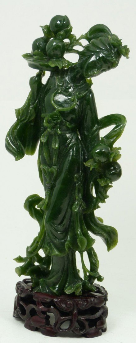 406: CHINESE HAND CARVED SPINACH JADE QUAN YIN FIGURE