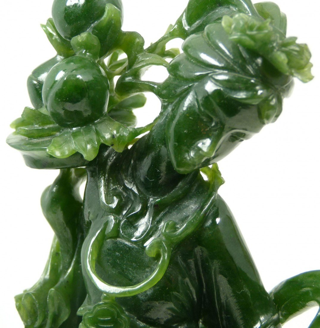406: CHINESE HAND CARVED SPINACH JADE QUAN YIN FIGURE - 2