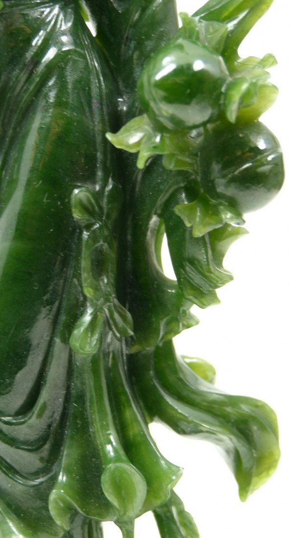 406: CHINESE HAND CARVED SPINACH JADE QUAN YIN FIGURE - 3