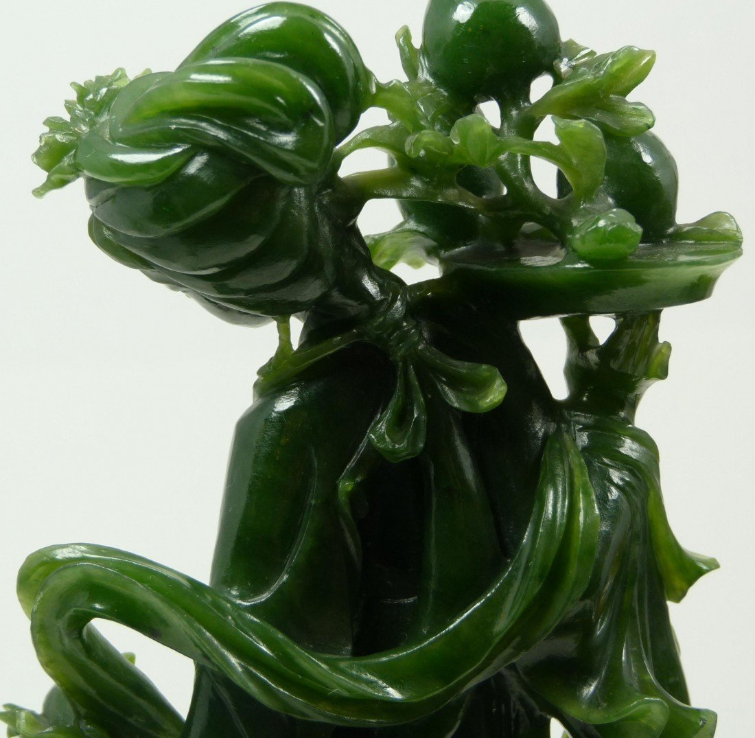406: CHINESE HAND CARVED SPINACH JADE QUAN YIN FIGURE - 4