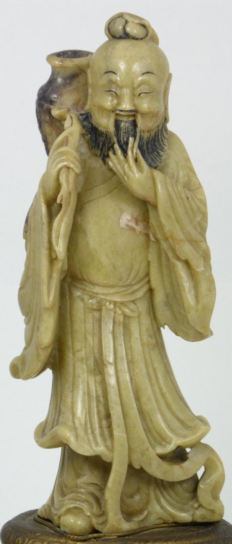 528: CHINESE HAND CARVED SOAPSTONE IMMORTAL FIGURE - 2