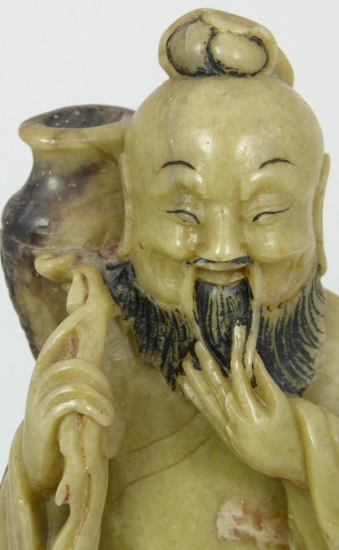 528: CHINESE HAND CARVED SOAPSTONE IMMORTAL FIGURE - 3