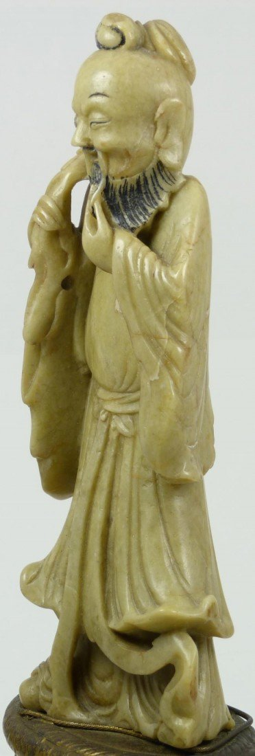 528: CHINESE HAND CARVED SOAPSTONE IMMORTAL FIGURE - 6