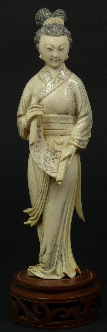 403: ANTIQUE CHINESE IVORY MAIDEN FIGURE WITH SCROLL
