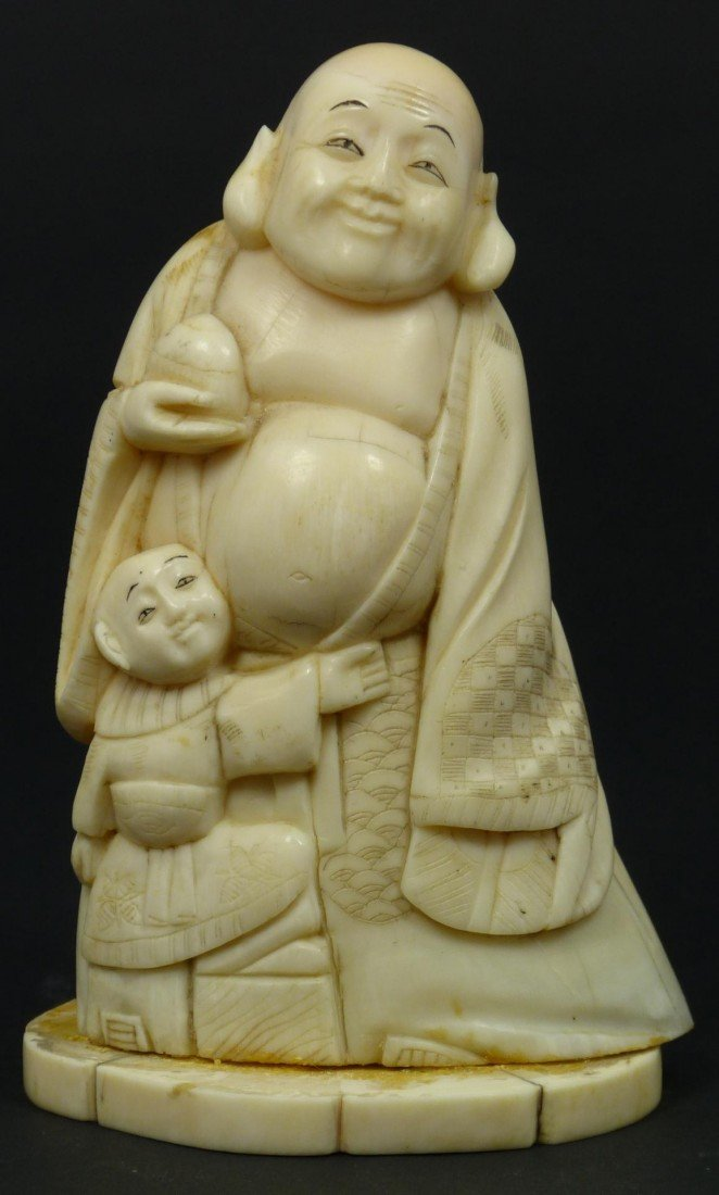 412A: CHINESE HAND CARVED IVORY STANDING BUDDHA FIGURE