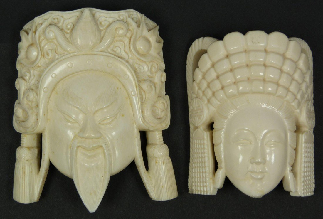 414A: Pr CHINESE IVORY EMPEROR & EMPRESS BUST PLAQUES