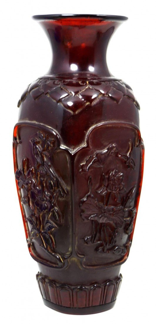 571: CHINESE QIANLONG RED AMBER RELIEF CARVED VASE