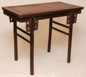 19th C CHINESE CARVED HUANGHUALI WOOD ALTER TABLE