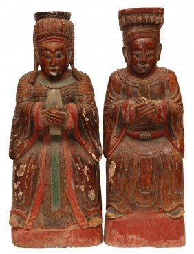 19th CENTURY CHINESE WOOD EMPEROR & EMPRESS