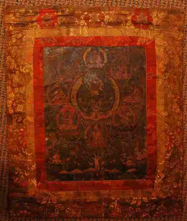 697: 18th CENTURY CHINESE TIBETAN THANGKA OF 9 GODS