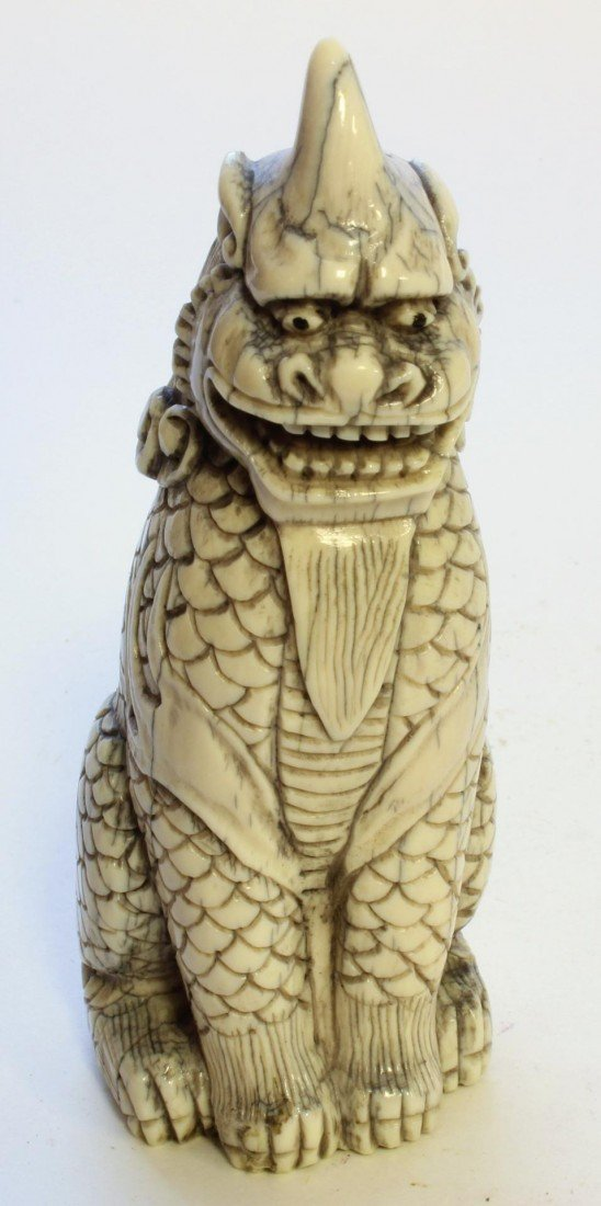5: JAPANESE CARVED IVORY TEMPLE FOO DOG FIGURE