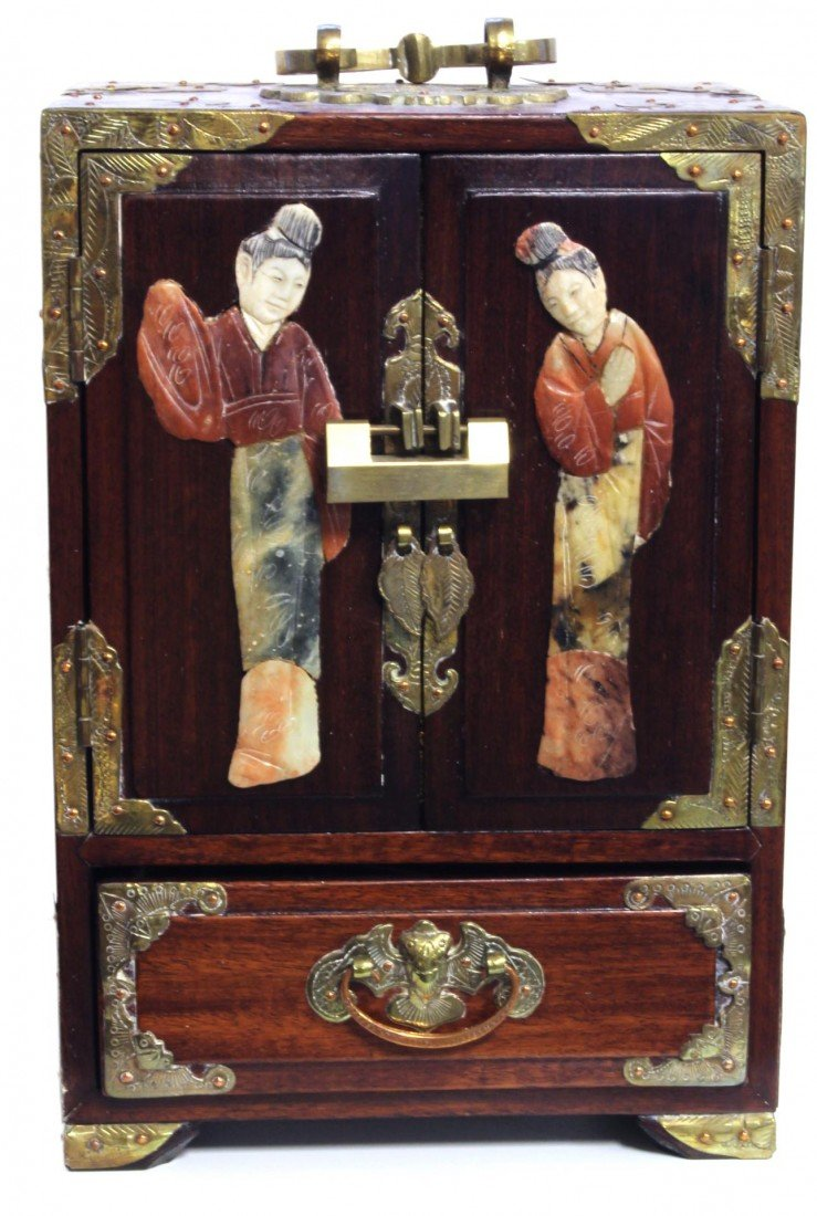6: CHINESE JEWELRY CHEST WITH SOAPSTONE INLAY