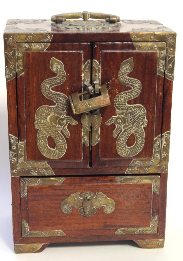 8: MID 20th C. CHINESE WOOD & BRASS JEWLERY CHEST