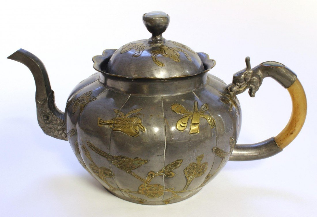 9: ANTIQUE CHINESE PEWTER, GOLD, & JADE TEAPOT