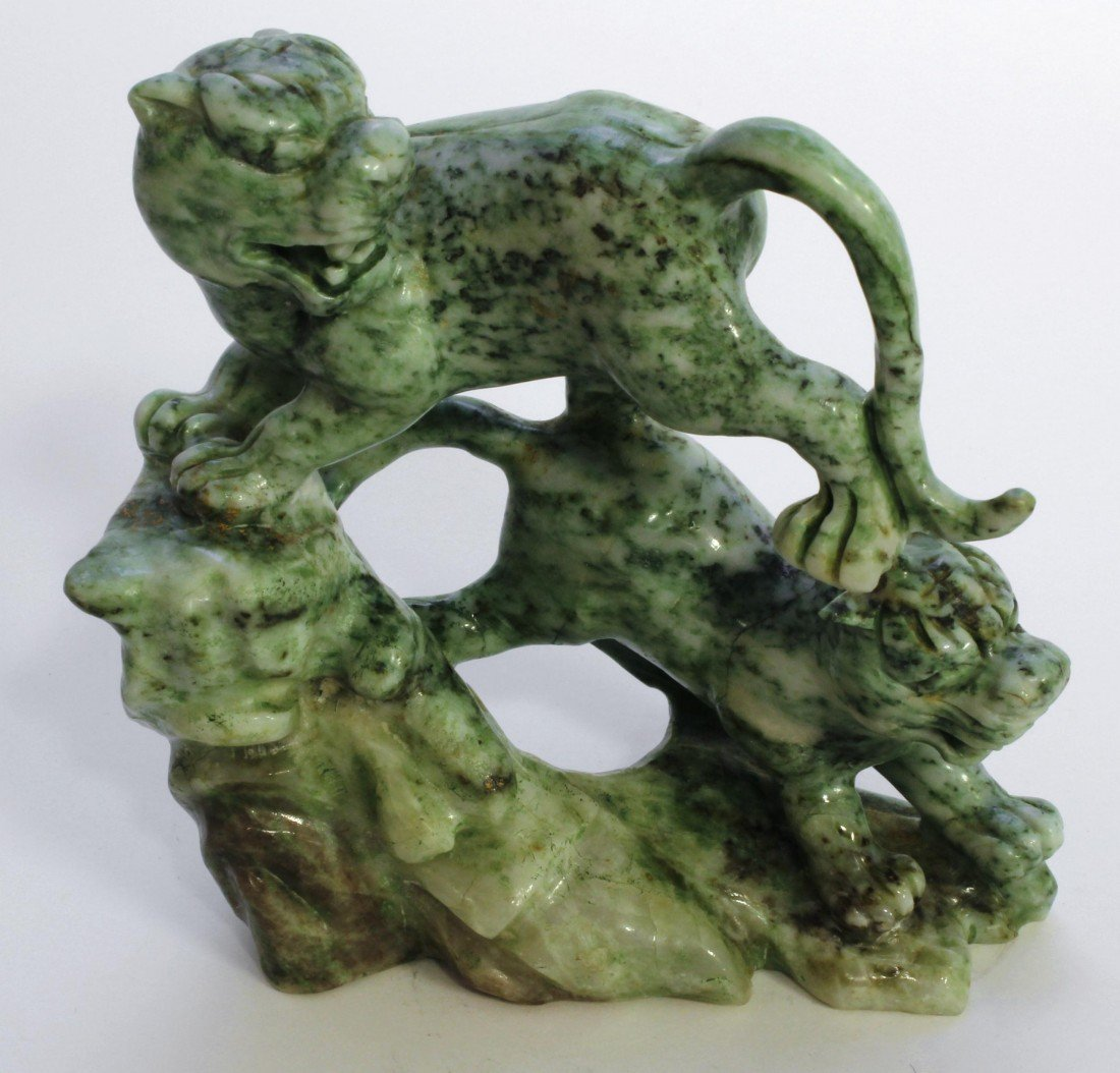 11: VINTAGE CHINESE CARVED JADEITE FOO LION GROUP