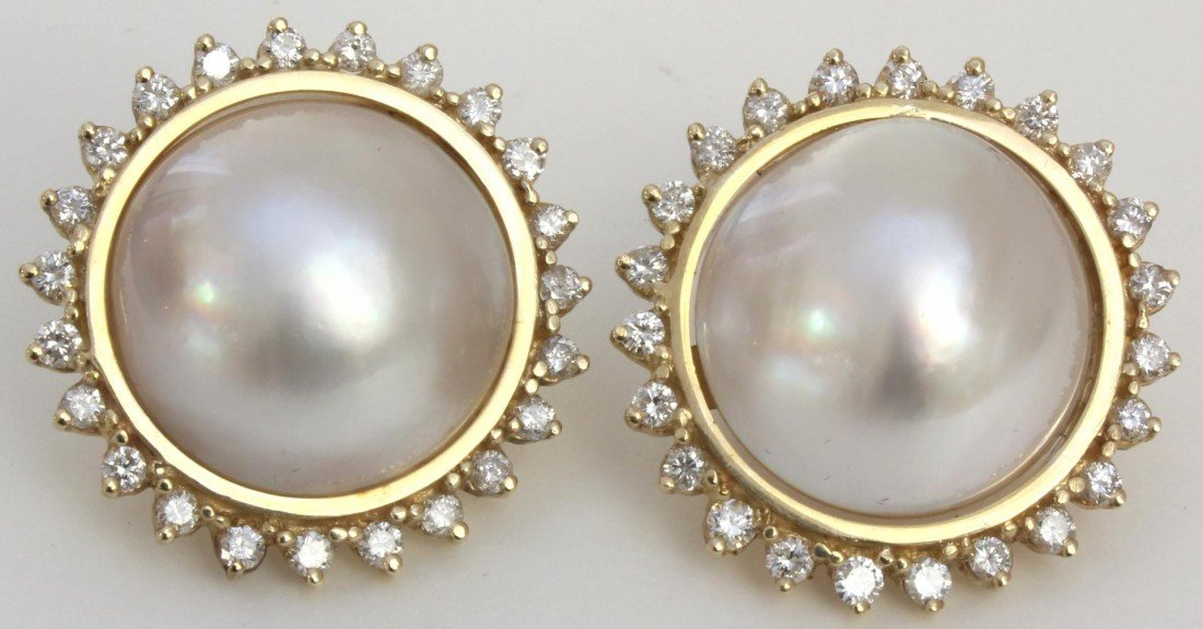 21A: Pr 14K YELLOW GOLD DIAMOND AND PEARL EARRINGS