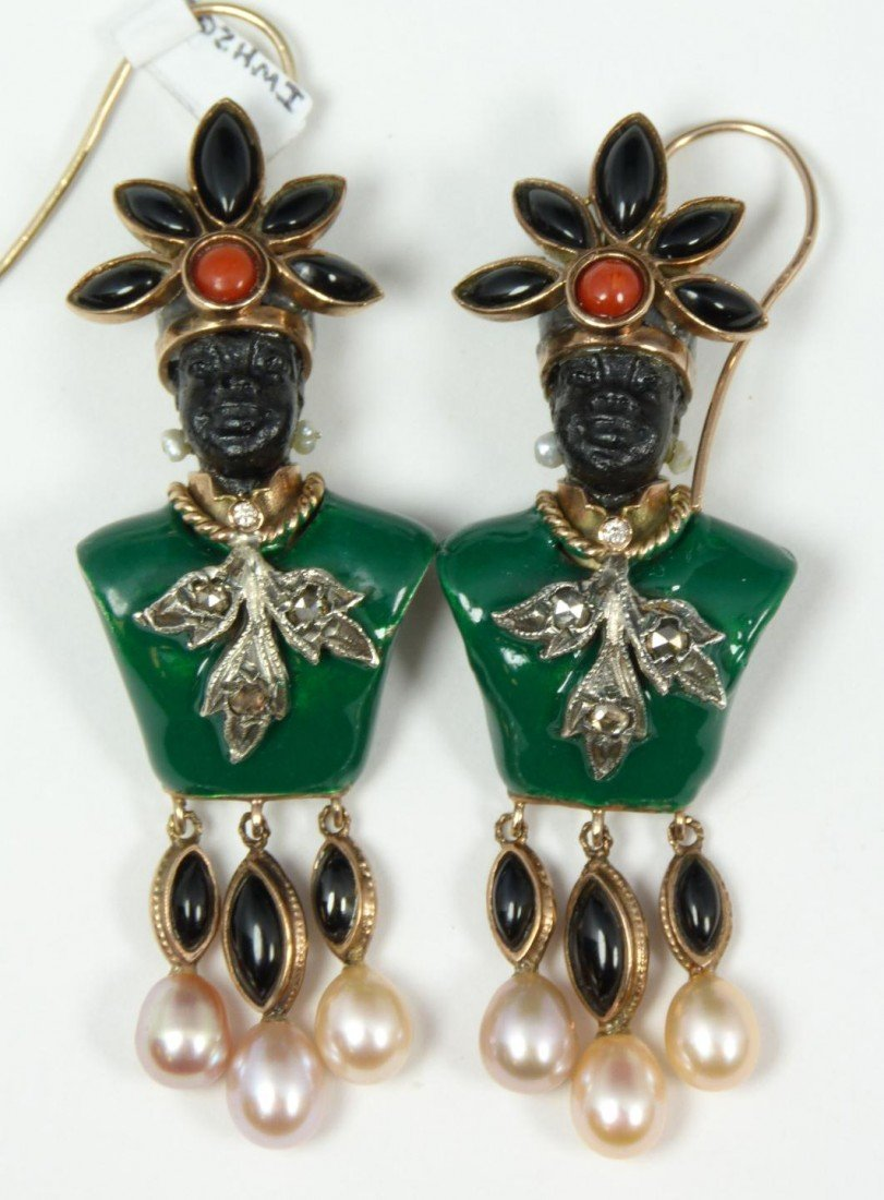 23: Pr RUSSIAN 14K YG ENAMELED BLACKAMOOR EARRINGS