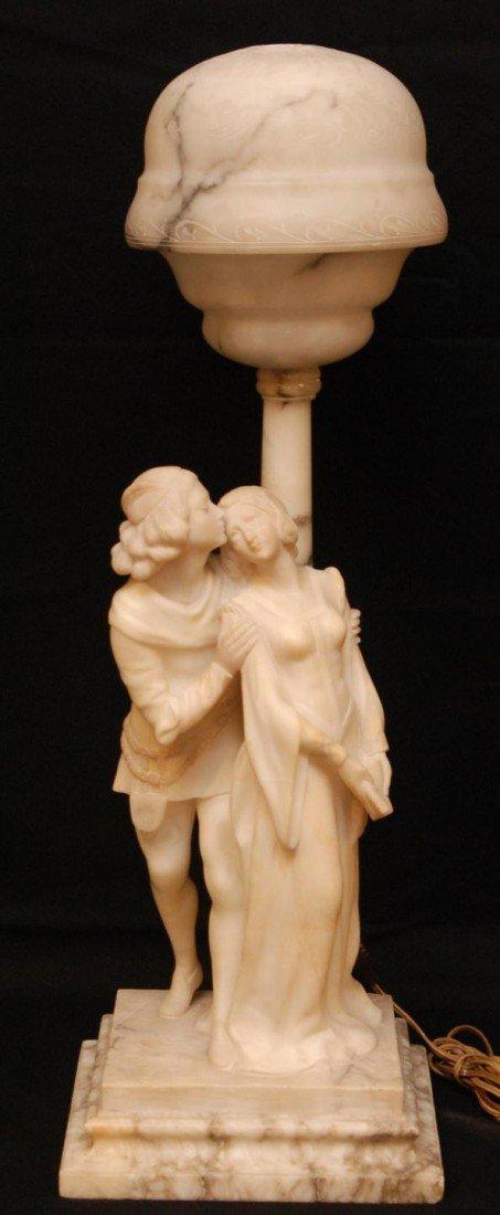 84: NOUVEAU ALABASTER LAMP OF ROMEO & JULIET