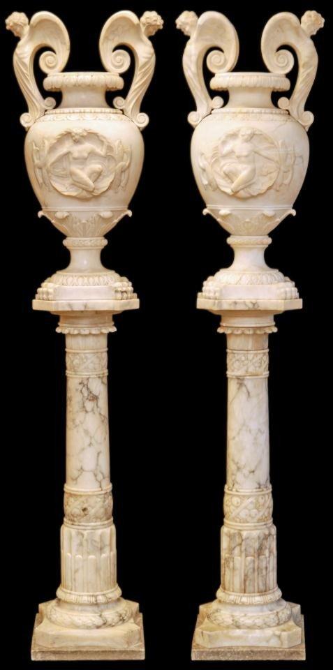 89: PAIR OF PALATIAL ITALIAN CARRERA MARBLE URNS