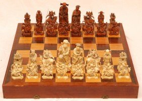 ANTIQUE CHINESE QIANLONG LARGE IVORY CHESS SET